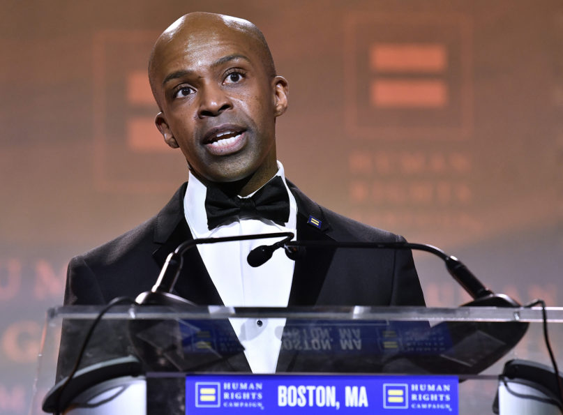 Human Rights Campaign President Alphonso David speaks during the 37th annual HRC New England dinner on Nov. 23, 2019, in Boston. The annual event brings hundreds of LGBTQ advocates and allies together for an evening of celebration across greater New England. (Josh Reynolds/AP Images for Human Rights Campaign)