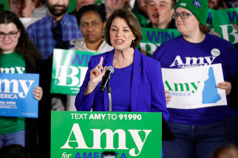 Democratic presidential candidate Sen. Amy Klobuchar, D-Minn., speaks at her election night party Feb. 11, 2020, in Concord, New Hampshire. (AP Photo/Robert F. Bukaty)
