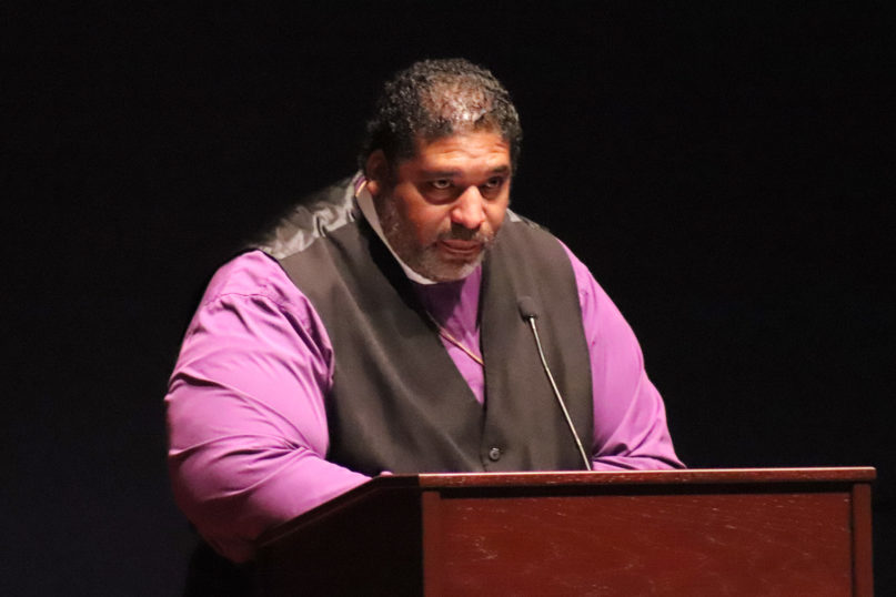 The Rev. William Barber II, co-founder of the Poor People's Campaign: A National Call for Moral Revival, speaks on Feb. 4, 2020, at the Congressional Black Caucus' 2020 National Black Leadership Summit at the Congressional Ballroom at the Capitol Visitor Center in Washington. RNS photo by Adelle M. Banks