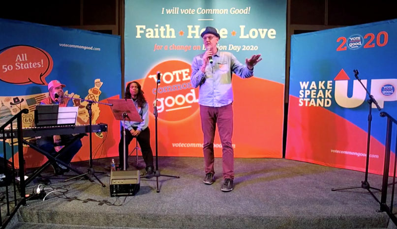 Doug Pagitt, center, speaks during a Vote Common Good rally at a United Church of Christ in Fresno, California, on Jan. 19, 2020. Video screengrab