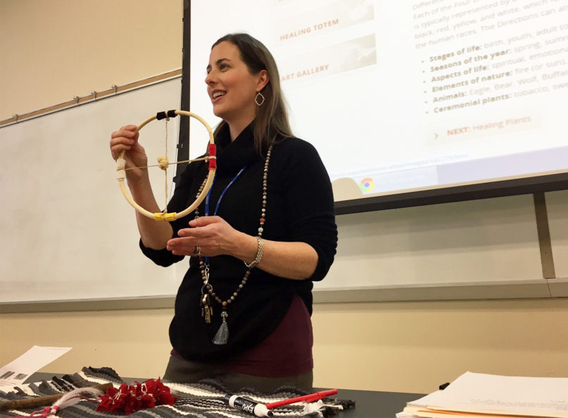 J. Dana Trent shows a medicine wheel in her World Religion class at Wake Technical Community College in Raleigh, North Carolina, on Jan. 30, 2020. RNS photo by Yonat Shimron