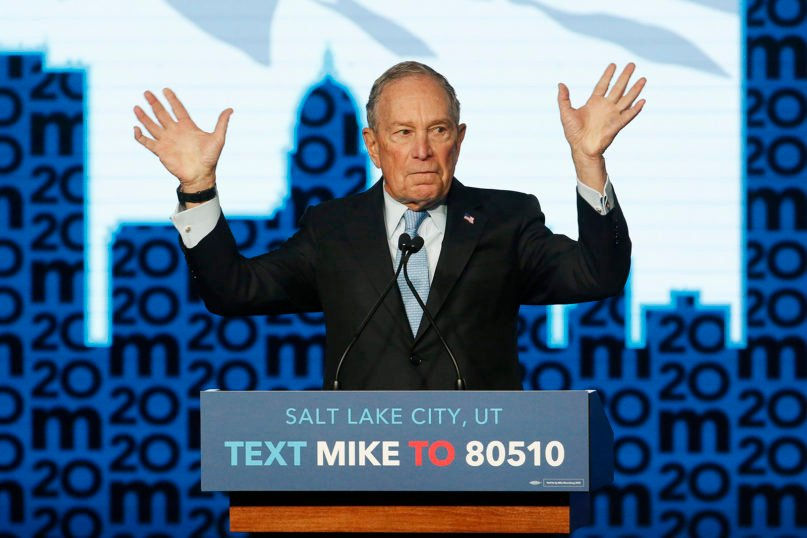 Democratic presidential candidate and former New York City Mayor Mike Bloomberg gestures as he speaks during a campaign event, Thursday, Feb. 20, 2020, in Salt Lake City.  (AP Photo/Rick Bowmer)