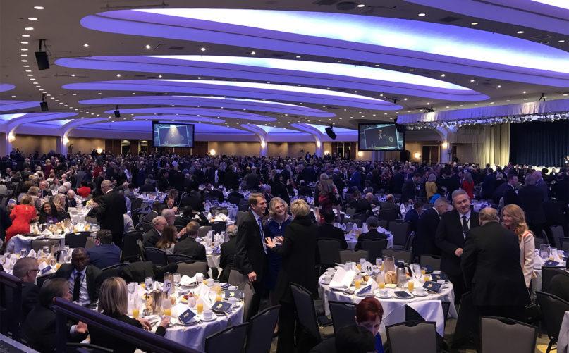 Attendees mingle at the 68th annual National Prayer Breakfast, at the Washington Hilton, Feb. 6, 2020, in Washington. RNS photo by Bob Smietana