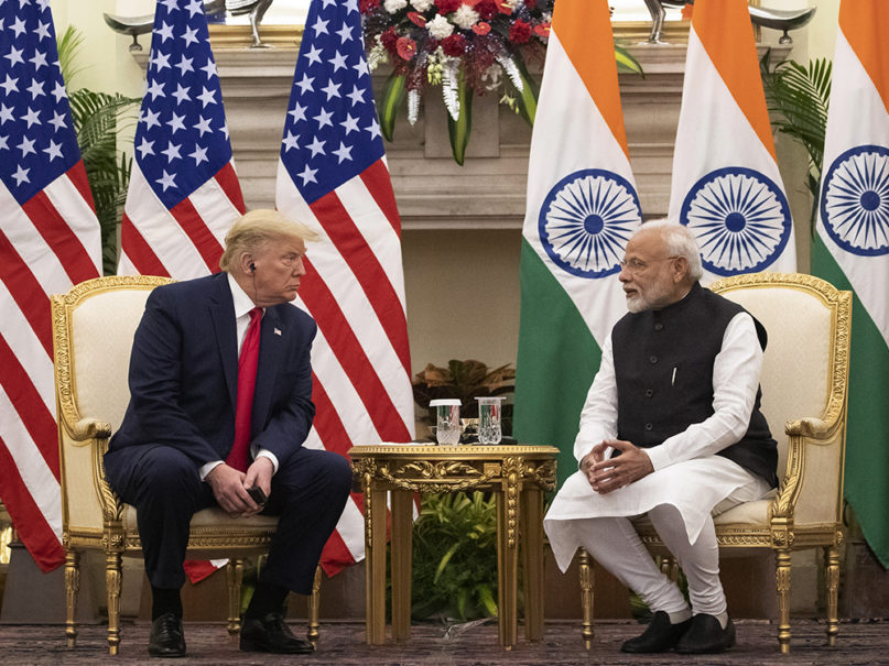 U.S. President Donald Trump and Indian Prime Minister Narendra Modi sit for a meeting at Hyderabad House on Feb. 25, 2020, in New Delhi. (AP Photo/Alex Brandon)