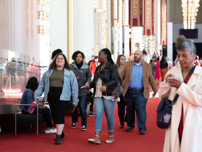 People head in to the Eisenhower Theater of the Kennedy Center for the Beyoncé Mass in Washington, D.C., on March 8, 2020. (Photo by Cheriss May, Ndemay Media Group)