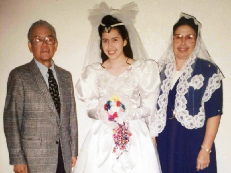 Raquel Guerra, now 41, poses with her parents in 1992 on the day of her 14th-year presentation. Once she turned 14, Guerra declared she wanted to continue in La Luz del Mundo church. Photo courtesy of Raquel Guerra