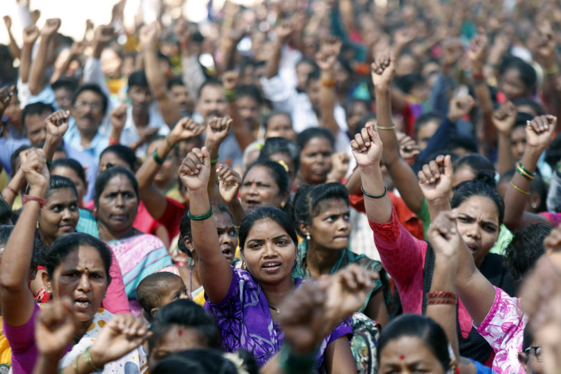 People participate in a protest rally against a new citizenship law in Mumbai, India, on March 3, 2020. The new citizenship law fast-tracks naturalization for non-Muslim migrants from neighboring Pakistan, Bangladesh and Afghanistan who are living in India illegally. (AP Photo/Rajanish Kakade)