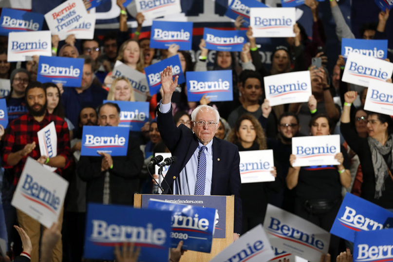 Democratic presidential candidate Sen. Bernie Sanders, I-Vt., speaks during a campaign rally in Dearborn, Mich., Saturday, March 7, 2020. (AP Photo/Paul Sancya)