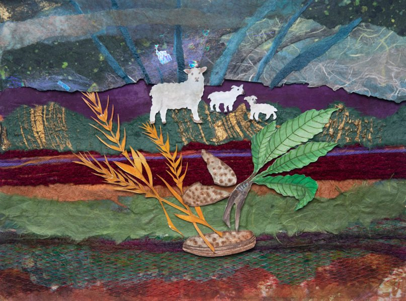 """Three traditional foods eaten on Passover, in their elemental form. Wheat refers to matzo, the sheep refer to the shinbone and the herbs refer to the bitter herbs. Image from """"The Promise of the Land: A Passover Haggadah"""" by Rabbi Ellen Bernstein. Art by Galia Goodman"""