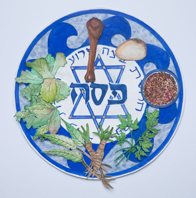 """The Seder Plate holds all the ritual foods for the Seder. Image from """"The Promise of the Land: A Passover Haggadah"""" by Rabbi Ellen Bernstein. Art by Galia Goodman"""