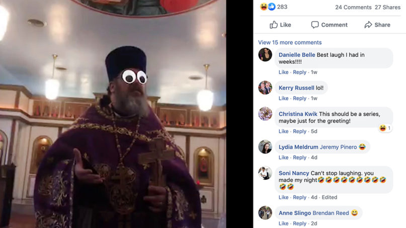 The Rev. Adam Sexton, of St. Andrew's Orthodox Church in Ashland, Virginia, posted stills of his livestreamed sermon when filters impacted his message. Screenshot