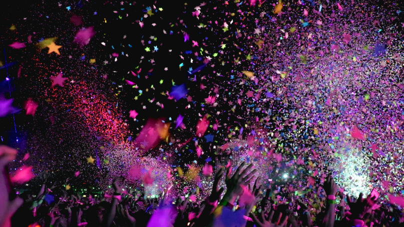 Confetti falls at a concert. Photo by ktphotography/Pixabay/Creative Commons