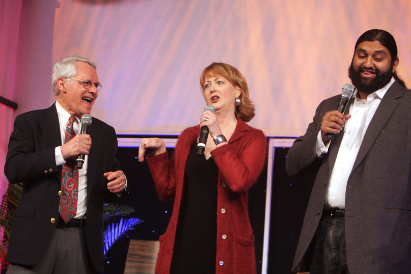 Bob Alper, from left, Susan Sparks, and Azhar Usman, a multi-faith comedy team, entertain the Religion Communication Congress 2010 participants at the opening banquet. Photo by George Conklin, courtesy of Religion Communicators Council