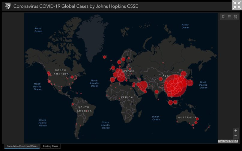 An interactive map of cumulative confirmed cases of coronavirus COVID-19 global cases by Johns Hopkins CSSSE on March 4, 2020. Screengrab