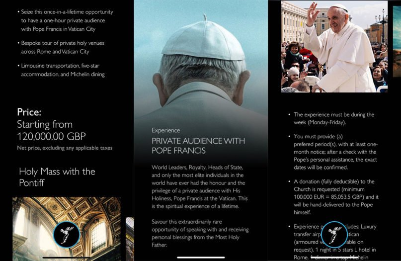 Screenshots of the Rolls Royce app and the promotion for a private audience with Pope Francis. Screenshots