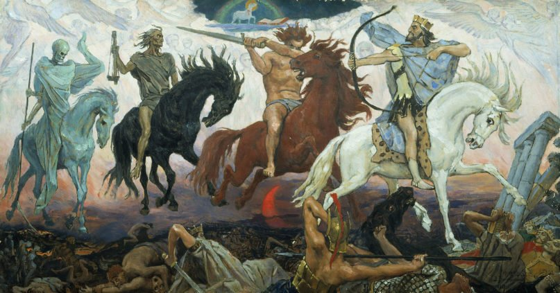 """""""Four Horsemen of the Apocalypse"""" by Viktor Vasnetsov, painted in 1887. Image courtesy of Creative Commons"""