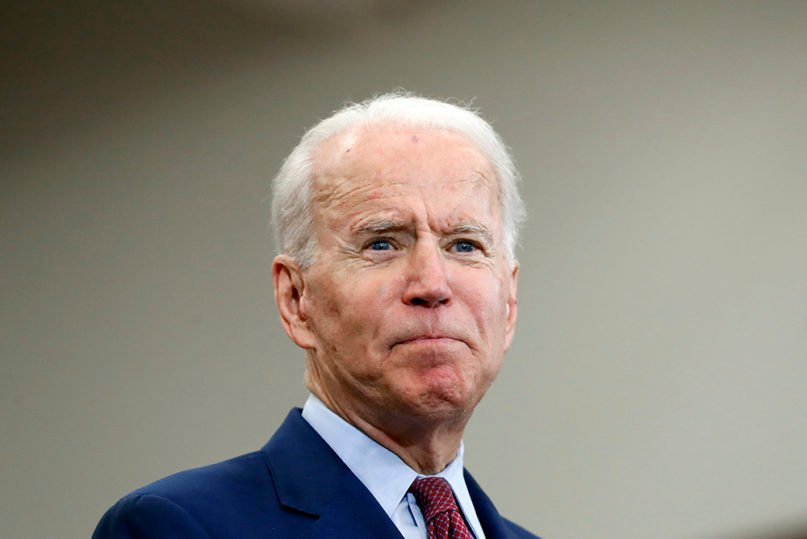 Democratic presidential candidate former Vice President Joe Biden speaks during a campaign rally at Renaissance High School in Detroit on March 9, 2020. (AP Photo/Paul Sancya)