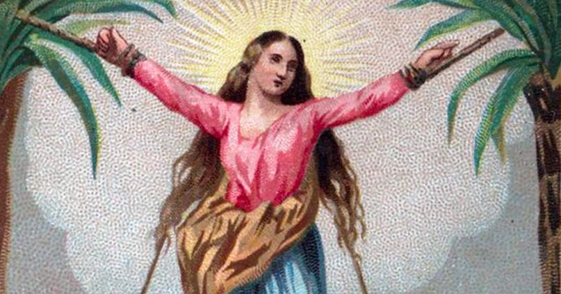 Saint Corona was supposedly martyred by being tied between two bent palm trees. Image courtesy of Creative Commons