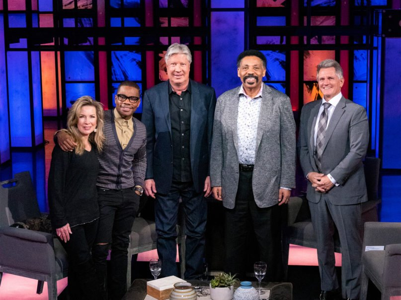 Laurie Crouch, from left, Kirk Franklin, Pastor Robert Morris, Pastor Tony Evans, and Trinity Broadcasting Network President Matt Crouch meet in early March 2020. Photo courtesy of Trinity Broadcasting Network
