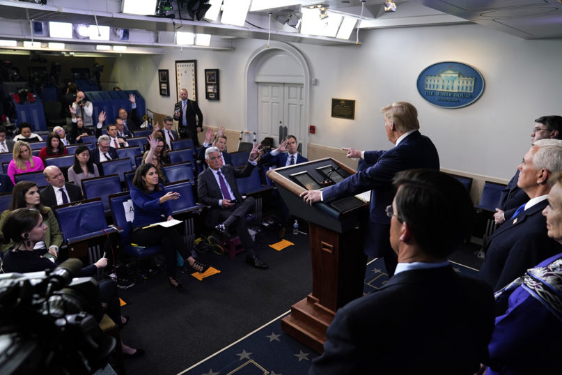 President Donald Trump takes questions during a press briefing with the Coronavirus Task Force, at the White House, on March 18, 2020, in Washington. (AP Photo/Evan Vucci)