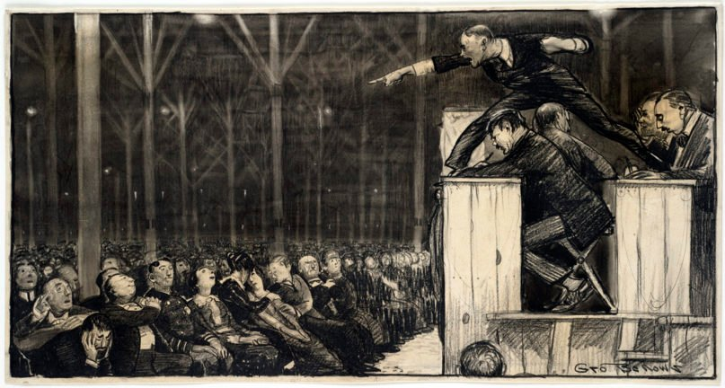 Billy Sunday preaches on March 15, 1915, in a temporary tabernacle erected on the site of the Central Library of the Free Library of Philadelphia. Illustration by George Bellows. Metropolitan Magazine, May 1915. Image courtesy of Boston Public Library/Creative Commons