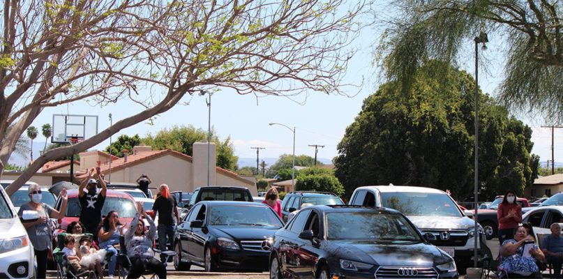 People gather for a Resurrection Sunday Drive-In Service at Church Unlimited in Indio, California, Sunday, April 12, 2020. Photo via Facebook