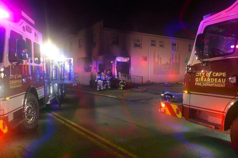 The Cape Girardeau Fire Department responds to a fire at the Islamic Center of Cape Girardeau early Friday, April 24, 2020, in Cape Girardeau, Missouri. Photo courtesy of Cape Girardeau Fire Department