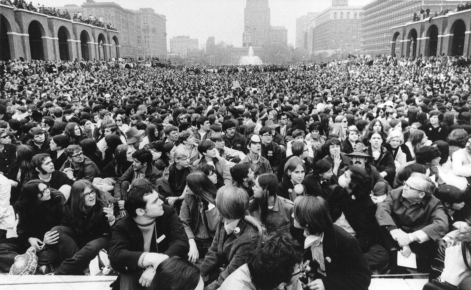 An estimated 7,000 people jam a quadrangle on Independence Mall in Philadelphia, during Earth Week activities celebrating the eve of the first Earth Day, April 22, 1970. (AP Photo)