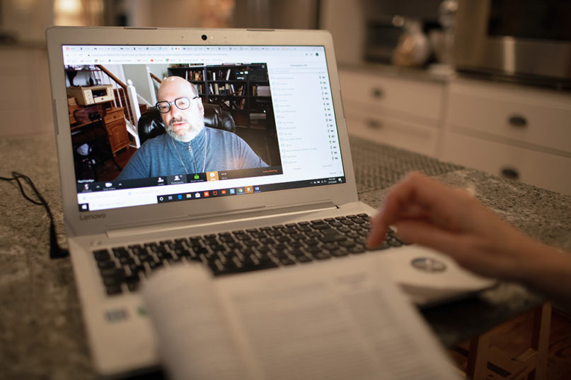 Bible scholar Paul Franklyn helps lead the Friendship Sunday School class of Belmont United Methodist Church in Nashville, Tennessee, by videoconference March 15, 2020, after church leadership encouraged people to worship from home in response to the coronavirus. Photo by Mike DuBose, UM News