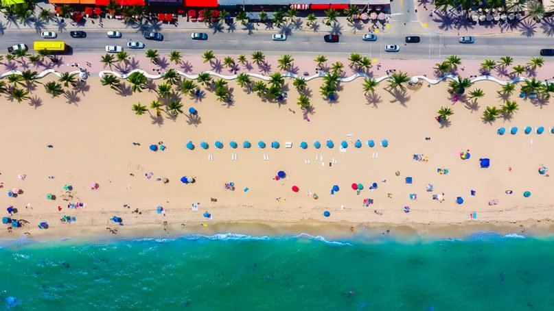 An aerial view of the beach in Fort Lauderdale, Florida. Photo by David Mark/Pixabay/Creative Commons