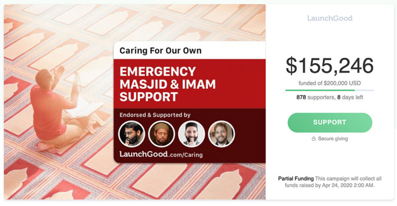 An initiative to raise funds for mosques and Islamic centers on the Muslim crowdfunding platform LaunchGood. Screengrab