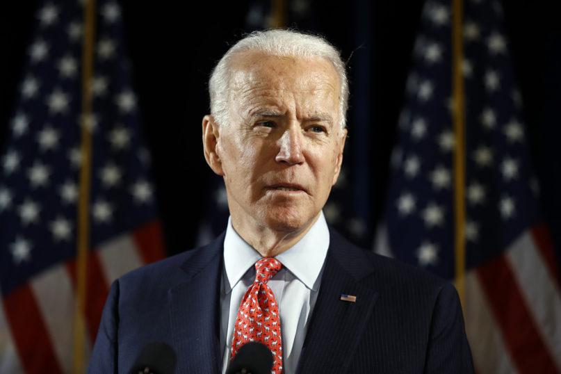 Democratic presidential candidate former Vice President Joe Biden speaks about the coronavirus March 12, 2020, in Wilmington, Delaware. (AP Photo/Matt Rourke)