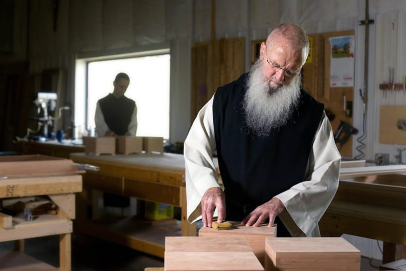 Monks make cremation urns at New Melleray Abbey near Dubuque, Iowa. Photo by Mark Hirsch