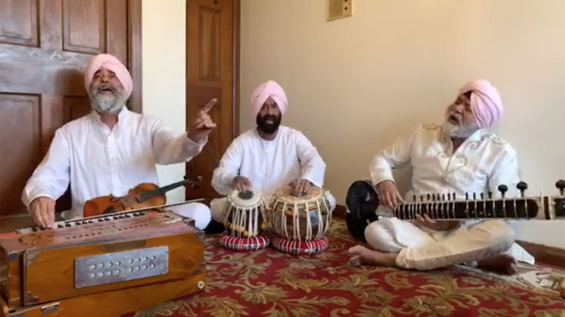 The Partap Brothers, a New York-based trio of Sikh musicians, use Facebook Live to broadcast their kirtan for Vaisakhi on Sunday, April 12, 2020. Video screengrab