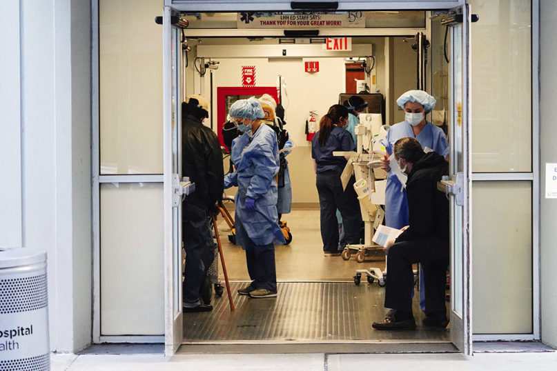 Staff attend to patients at Lenox Hill Hospital, April 7, 2020, in New York. (Photo by John Nacion/STAR MAX/IPx)