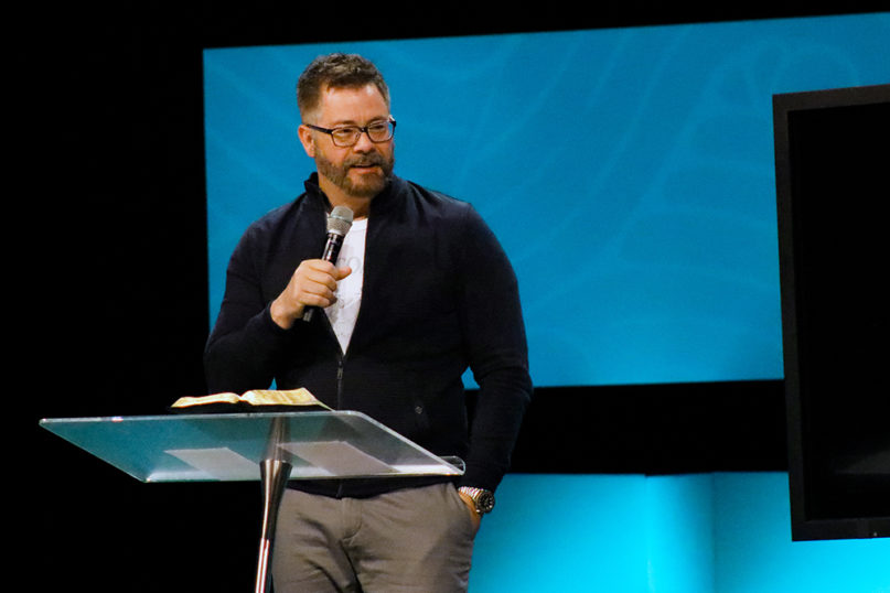 Pastor Darrin Patrick preaches at Seacoast Church in March 2019. Photo courtesy of Seacoast Church