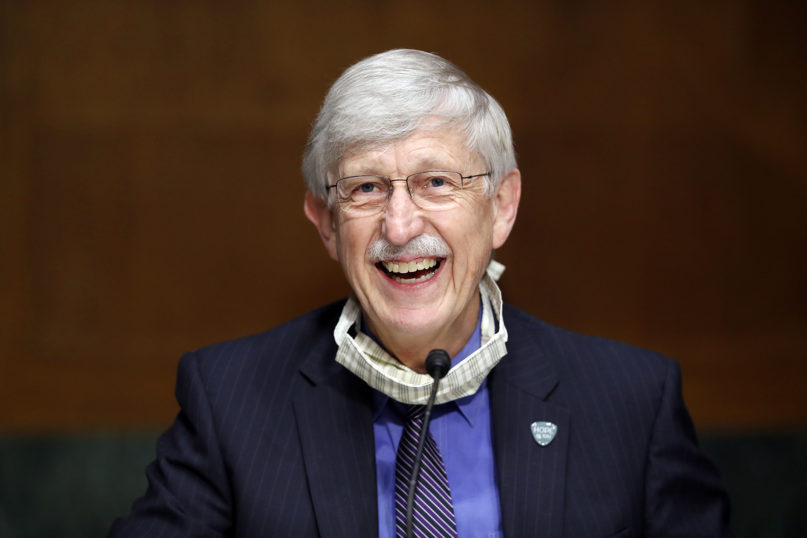 National Institutes of Health Director Dr. Francis Collins speaks during a Senate Health, Education, Labor and Pensions Committee hearing on new coronavirus tests on Capitol Hill in Washington on May 7, 2020. (AP Photo/Andrew Harnik, Pool)