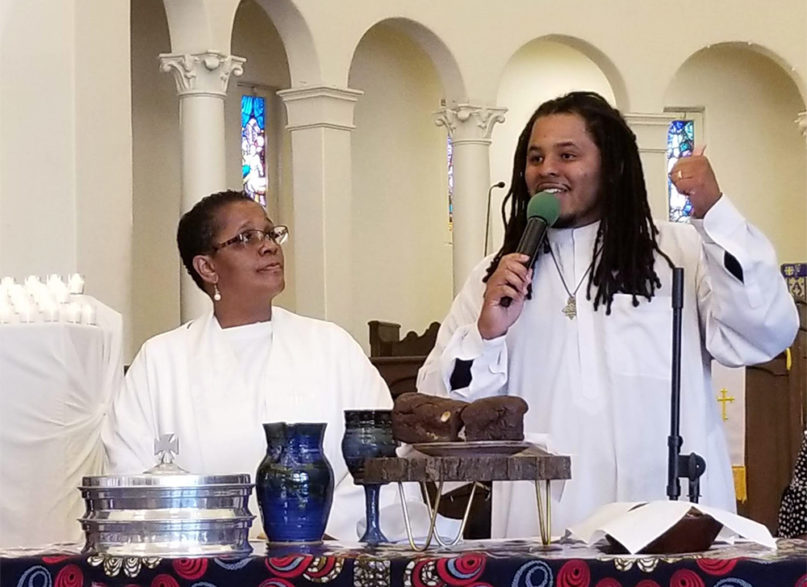 The Rev. Shirley Renee Franklin, left, with her son, the Rev. Victor Cyrus-Franklin, at Inglewood First United Methodist Church on Nov. 4, 2018, in Southern California. Courtesy photo