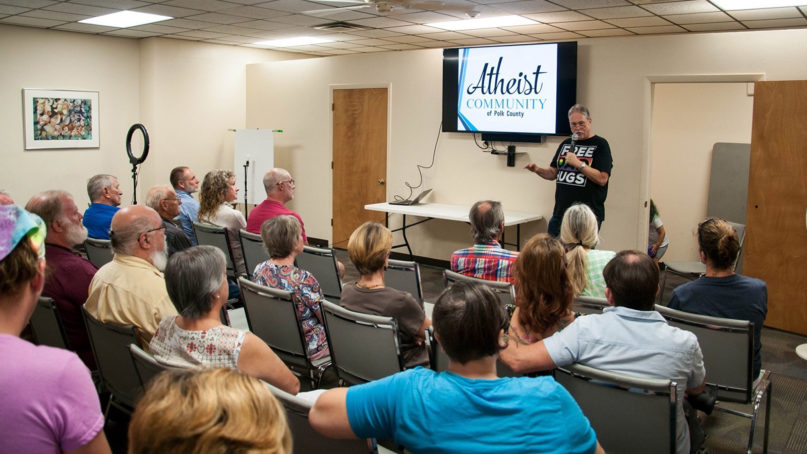 David Mercer, top, a former minister, talks about rethinking the way people relate to and interact with believers while speaking in Polk County in central Florida. Photo courtesy of Atheist Community of Polk County