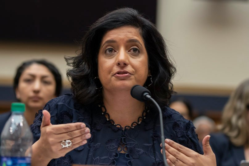 In this Sept. 24, 2019, file photo, Farhana Khera, then-president and executive director of Muslim Advocates, speaks during a joint hearing by the House Committee on the Judiciary's Subcommittee on Immigration and Citizenship and the Committee on Foreign Affairs' Subcommittee on Oversight and Investigations on Capitol Hill in Washington. The hearing was on the Trump administration's so-called Muslim travel ban. (AP Photo/Manuel Balce Ceneta, File)