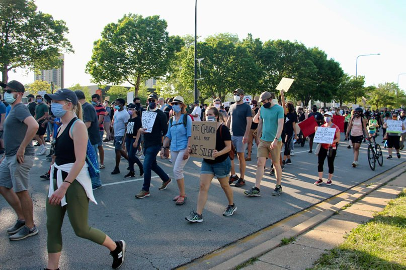 Participants in a Chicago faith community demonstration march through the Bronzeville neighborhood on Chicago's South Side on June 2, 2020. RNS photo by Emily McFarlan Miller