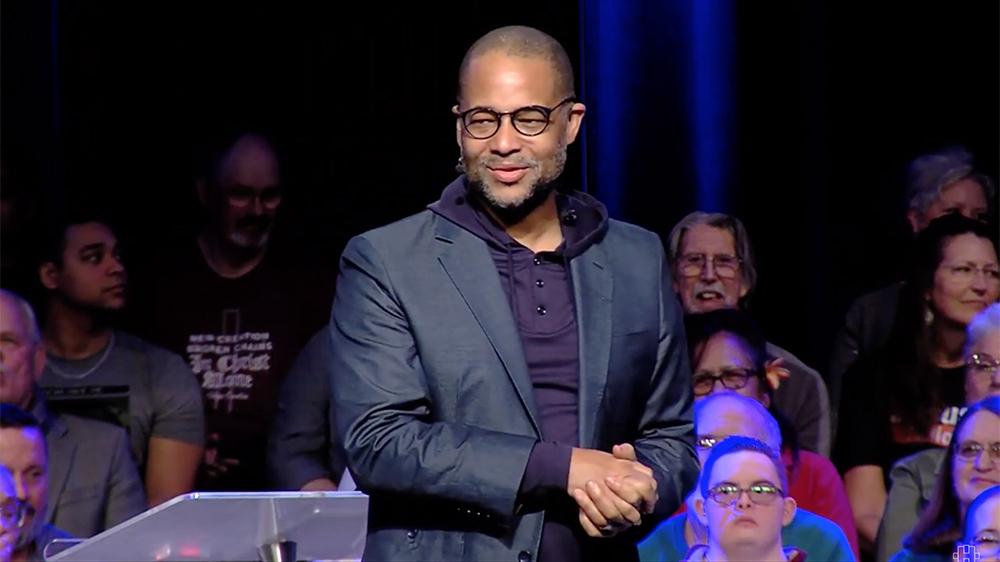 Pastor Bryan Loritts preaches during the Hope Church Awaken event on Jan. 27, 2020, in Las Vegas. Video screengrab
