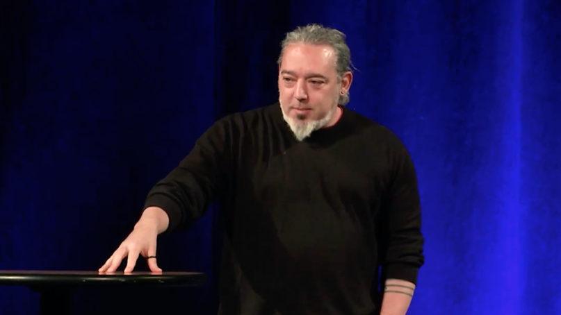 Author Christopher Heuertz speaks at Lipscomb University, Jan. 10, 2019. Video screengrab via Lipscomb University