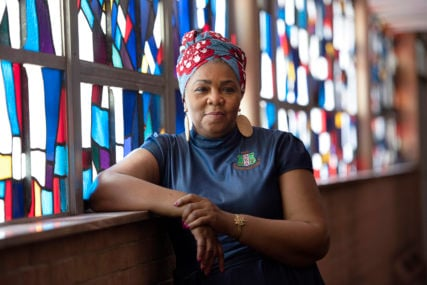 The Rev. Traci Blackmon, pastor of Christ the King United Church of Christ, poses for a portrait, Friday, June 5, 2020 at her church in Florissant, Missouri. RNS photo by Nick Schnelle