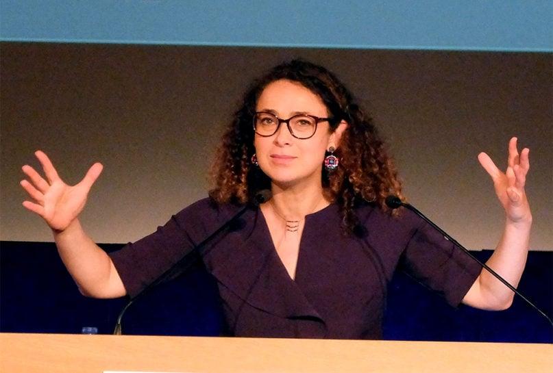 Rabbi Delphine Horvilleur speaks at the University of Geneva in May 2019. Photo by LaMèreVeille/Creative Commons