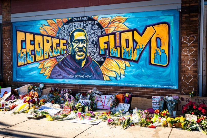 A mural and memorial honoring George Floyd and other Black victims in Minneapolis, Minnesota. Photo by Munshots/Unsplash/Creative Commons