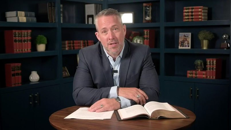 Southern Baptist Convention President J.D. Greear delivers an online address to his denomination, Tuesday, June 9, 2020, via Facebook Live. Video screengrab