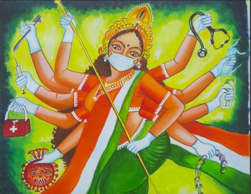 """""""Maa Bharati On Coronavirus"""" by artist Sandhya Kumari. Image courtesy of Creative Commons"""