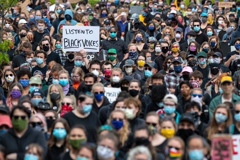 Demonstrators gather at a rally to peacefully protest and demand an end to institutional racism and police brutality on June 3, 2020, in Portland, Maine. (AP Photo/Robert F. Bukaty)