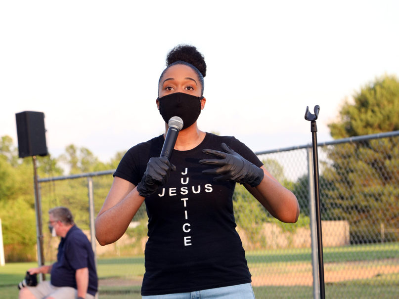 Claudia Allen speaks at a community interfaith prayer vigil, planned by Pastor Noah Washington of Emmanuel Brinklow SDA Church, on June 12, 2020, in Montgomery County, Maryland. Courtesy photo